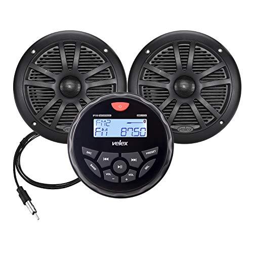 Wasserdicht Bluetooth Marine Stereo Lautsprecher 2 x 6.5 Inch Antenna -Empfänger mit MP3 Player am DAB+/AM/FM Radio und USB für Streaming Musik auf Booten Golf Carts ATV UTV und Spa Hot Tubs (DAB+)