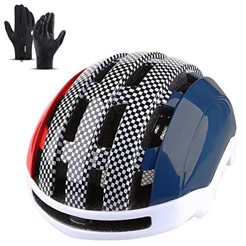 HVW Casco De Bicicleta De Ciclismo para Adultos, Cascos De Bicicleta Casco De Bicicleta De Carretera Ligero Diseño De Microshell con Guantes De Montar para Mujeres Y Hombres De 21 A 22,8 Pulgadas,B
