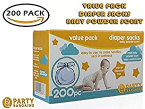 Party Bargains Disposable Diaper Bags with Baby Powder Scent | 100% Biodegradable Easy-Tie Nappy Sacks for Home and Travel...