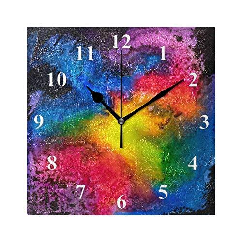 RELEESSS Quadratische Wanduhr, abstrakter Regenbogen, nicht tickend, geräuschlos, Heimdekoration, Uhr für Esszimmer, Wohnzimmer, Schlafzimmer, Küche, Büro, Schule
