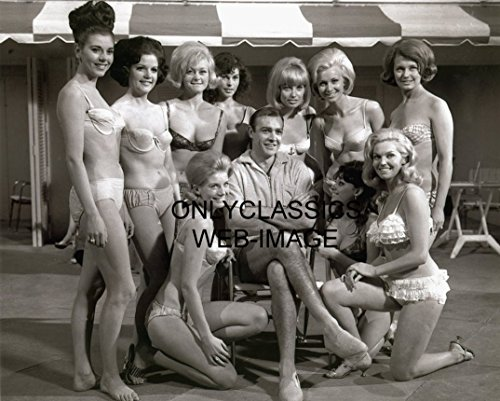 OnlyClassics James Bond 007 Sean Connery & Sexy Bikini Swimsuit Girls 8.5' X 11' Photo Pinup Cheesecake
