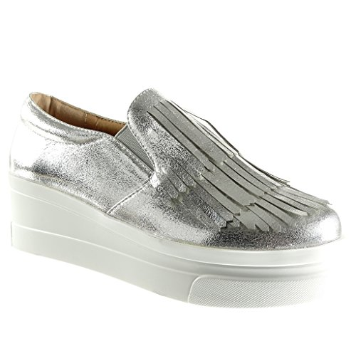 Angkorly - Zapatillas Moda Mocasines Slip-on Plataforma