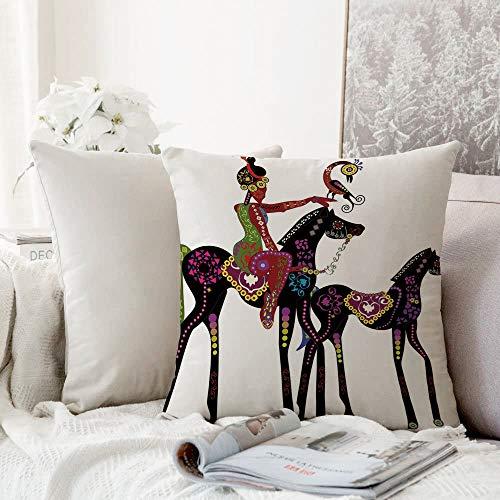 decoración Cuadrada, Diseño Tribal étnico, Abstracto Antiguo de una Mujer en un Caballo con un pájaro Animal Divertido Imagen,Funda de Almohada Almohada para Coche Almohada para sofá casero