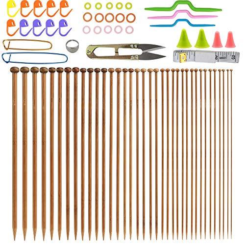 Nsiwem Stricknadeln Bambus Set 36 Stücke Stricknadeln Set Stricknadeln Holz Strickset Holzstricknadeln Stricken für Anfänger 18 Größe(2.0-10.0mm) Handarbeit Knitting Needles Stricken für Anfänger