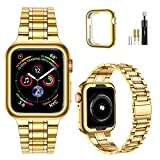 MioHHR Solid Stainless Steel Band Compatible with Apple Watch Bands 44/ 42/ 40/ 38mm, Upgraded Version Metal Replacement Wristbands Strap for iWatch SE Series 6/5/4/3/2/1 (Yellow Gold,38/40 mm)