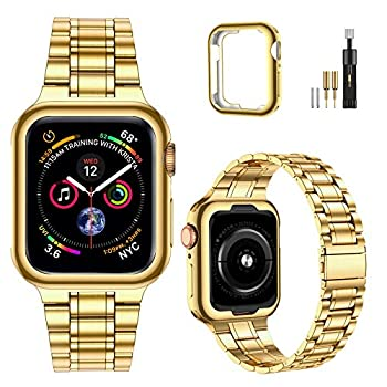 MioHHR Solid Stainless Steel Band Compatible with Apple Watch Bands 44/ 42/ 40/ 38mm Upgraded Version Metal Replacement Wristbands Strap for iWatch SE Series 6/5/4/3/2/1  Yellow gold,42/44mm