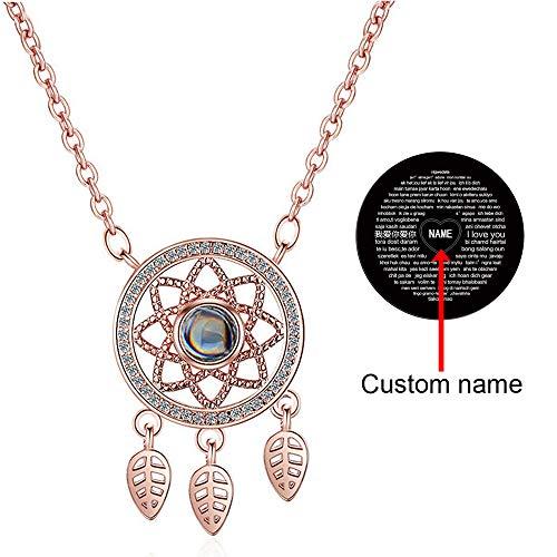 100 Sprachen Ich Liebe Dich Kette Projektion Halskette 925 Silber Traumfänger for Women, I Love You Necklace 100 Languages Personalisiert mit Namen, Geschenkbox