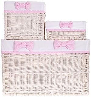 Set de 3 corbeilles en osier blanc,Set de 3 paniers de rangement en osier, housse amovible en tissu blanc et rose
