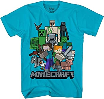 Minecraft All Aboard Big Boys Youth T-Shirt Licensed  Turquoise Medium