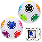 ABOAT 2 Pieces Puzzle Balls Magic Rainbow Ball Cube Rolling 3D Puzzle Educational Toys