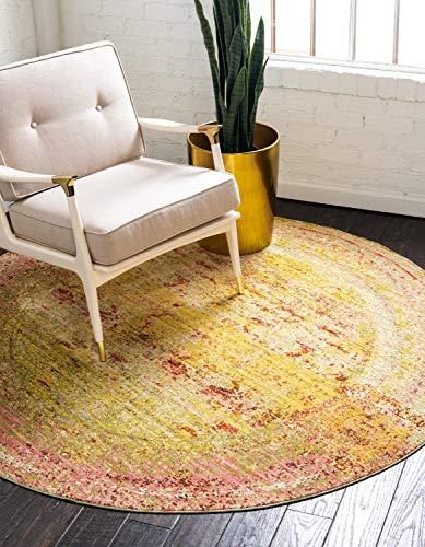 Unique Loom Traditionnel Aria Contemporain Moderne Abstrait Zone Tapis, Polyester, Jaune, 6 x 6 Round