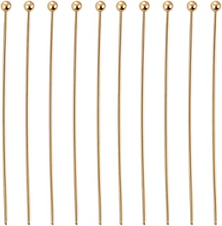 BENECREAT 100PCS 18K Real Gold Plated Ball Pins 22 Gauge Ball Head Pins for DIY Jewelry Making Findings - 35mm (1.4