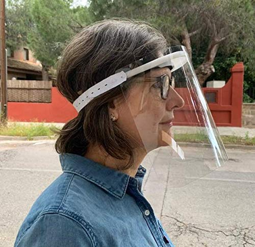 KMINA PRO – Pantalla Protección Facial Transparente (Pack x10 uds), Visera Protección Facial, Protector Facial con Separación y Agujeros de Ventilación, Pantalla Protectora Cara, Fabricado en España