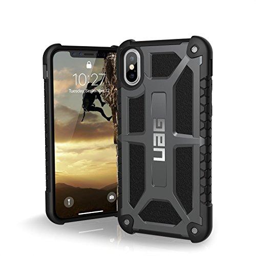 Urban Armor Gear Monarch Hülle für das Apple iPhone Xs / X Handyhülle nach US-Militärstandard [Qi kompatibel, Sturzfest, Verstärkte Ecken, Leder] - Graphite Grau