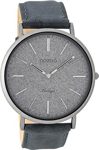 Oozoo Vintage herenhorloge plat lederen band 44 mm glitter/blauwgrijs C8806