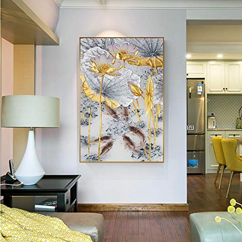 yaoxingfu No frame Abstract Gold Lotus Canvas ng Golden Foil Poster Print New Chinese 3D Wall Art Pictures for Living Room 3d Poster 60x90cm