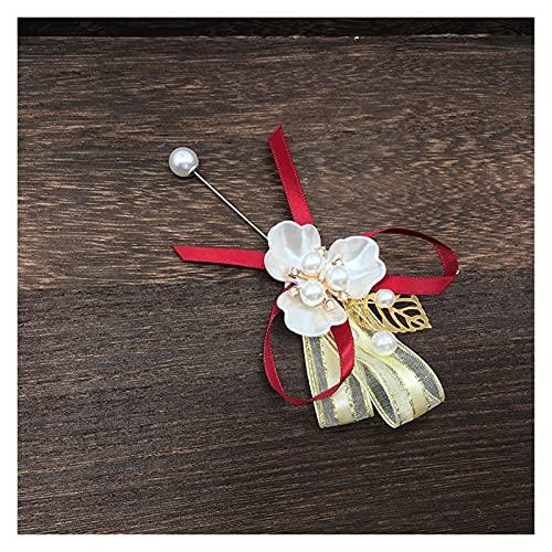 Polsbloem Faux parel corsage armband stof hand bloem meisje bruidsmeisje polsbloem bruiloft accessoires Trouwartikelen (Color : Red)
