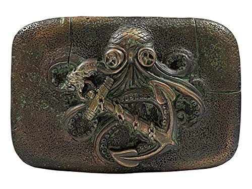 Italian Artisan Crafted Belt Buckle - Antique Engraved Octopus Boat Anchor Belt Buckle fits 1-1/2' (38mm)