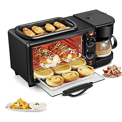 3 en 1 mini horno, horno sobremesa, hornos de cocina electrico, cafetera, tostadora, Plancha Antiadherente,hornos de sobremesa hacer un desayuno completo para la familia,Negro,Sin tapa