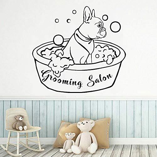 Zdklfm69 Pegatinas de Pared Adhesivos Pared Perro Animal Perro Baño Aseo Salón Decoración Perro Aseo Decoración de Pared Papel Tapiz 76x81cm