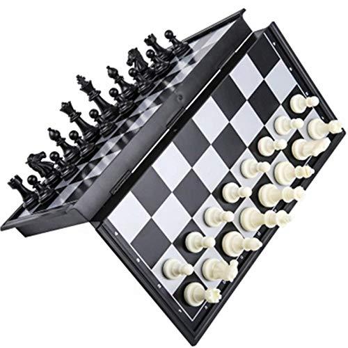 GIAOGIAO Juego de ajedrez magnético Tablero de ajedrez Plegable ajedrez de ajedrez Blanco y Negro Piezas de ajedrez de Oro y Plata (Color : Black)