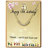 Birthday Gifts For Girls Gifts For 13 Year Old Girl 13th Birthday Necklace With Stainless Steel Beads Adjustable Necklace