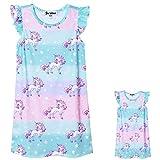Unicorn Nightgowns Girls&Dolls Flutter Sleeve Pajamas Night Dresses,Size 3t 4t
