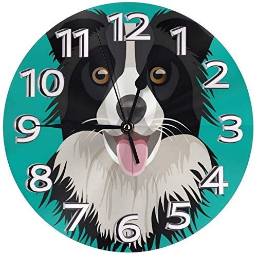 GOSMAO Round Wall Clock,Border Collie Dog Blue,Desk Clock Home Decor for Kitchen Living Room Bedroom Office