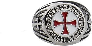 Gungneer Iron Cross Ring Stainless Steel Knight Templar Red Cross Jewelry Gift Women Men