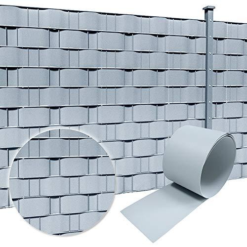 Froadp 10 Stück Hart PVC Sichtschutzstreifen 2,5m x 19cm Sichtschutz Garten Doppelstabmattenzaun für Gartenzaun Balkon Hellgrau