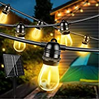 Otdair 48ft Waterproof Solar String Lights with 15 Edison Bulbs