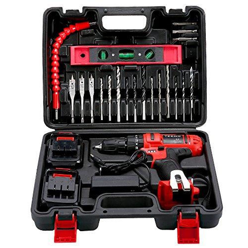 TEENO Perceuse visseuse a percussion sans fil PSR 21V+2 Vitesses+ 2 batteries lithium + 20 accessoires+ gants professionnels