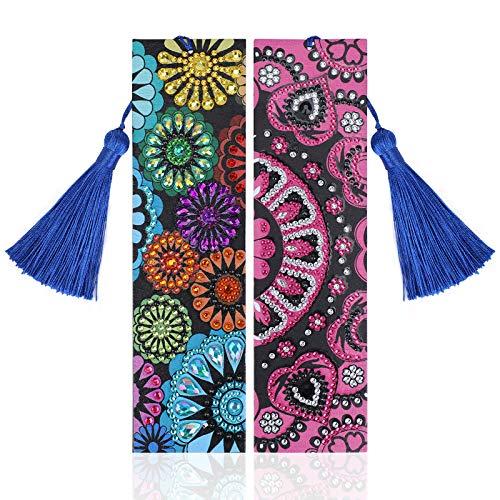 VETPW 2er Pack 5D DIY Mandala Blume Diamant Malerei Lesezeichen mit Quaste für Abschluss Geburtstagsgeschenk, Diamant Stickerei Malerei Leder Lesezeichen Set, Diamond Painting Bookmark