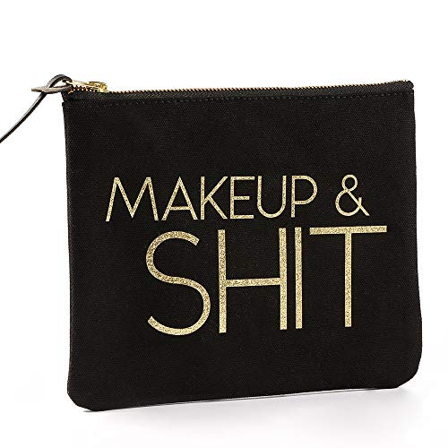 SHERWAY Black Gold Glitter Makeup Bag, Funny Canvas Cosmetic Zipper Pouch, Wedding Bridal Party Graduation Gift, Birthday Gift Christmas Gift (8 x 9.5 inch)