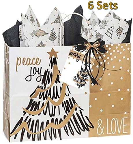 Gold and Black Gift Bags - 6 Sets Matching Tissue Paper Gift Tag and Raffia Holiday Christmas Tree -  Gift Baskets by Debbie