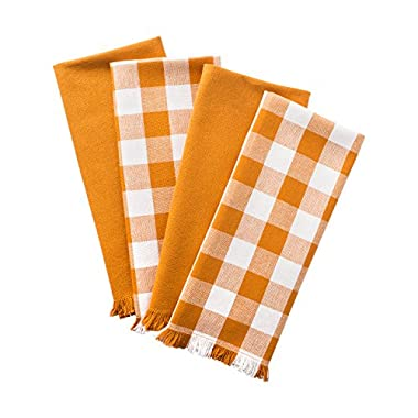 DII Woven Heavyweight Cotton Dish Towels with Decorative Fringe, Absorbent Dishtowels for Drying and Cleaning Kitchen Dishes or Countertops (18x28 , Set of 4) Pumpkin Spice Checker
