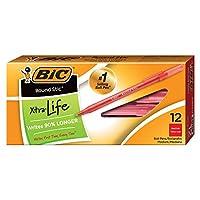 Bic Round Sticボールペン, Medium Point (1.0MM)、赤、12タブレット(3パック)