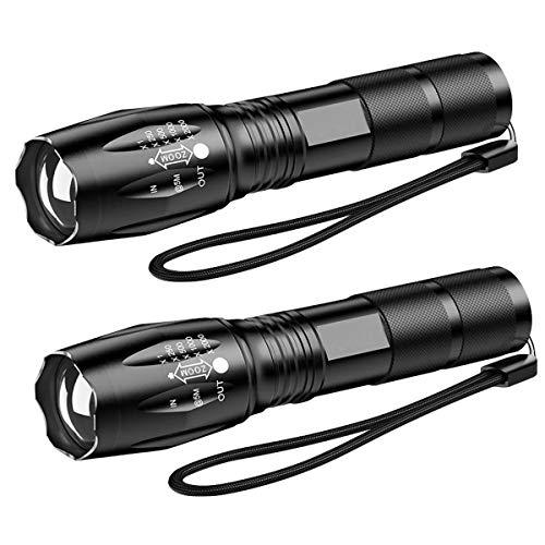 Linternas ultrabrillantes, linterna táctica LED XML-T6, enfoque ajustable con zoom, portátil, 5 modos de luz para interiores y exteriores, camping, emergencia, senderismo (paquete de 2)