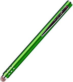 Truglide Mesh Fiber Stylus with Microfiber Knit Tip for All Capacitive Touch Screen Tablets, iPad, and Smartphone (Green with Silver Clip)