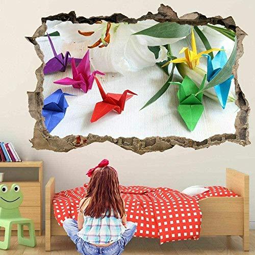 Pegatinas de pared Origami papel arte pared pegatinas mural calcomanía vinilo cartel niños Fd13-3D - Poster-50x70cm