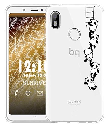 Sunrive Für BQ Aquaris C Hülle Silikon, Transparent Handyhülle Schutzhülle Etui Hülle für BQ Aquaris C(TPU Panda 1)+Gratis Universal Eingabestift