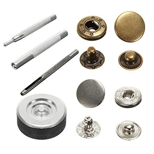 Snaps Sewing Metal 10mm Press Studs Snap Fasteners Poppers Sewing Clothing Buttons Kit Craft Leather 2 Color 15 Sets 1 Package