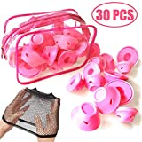 TIHOOD 30 PCS Hair Care Rollers with Wig Cap and Storage Bag- Hair Curlers Silicone No Clip Hair Style Rollers Soft Magic DIY Curling Hairstyle Tools Hair Accessories Pink