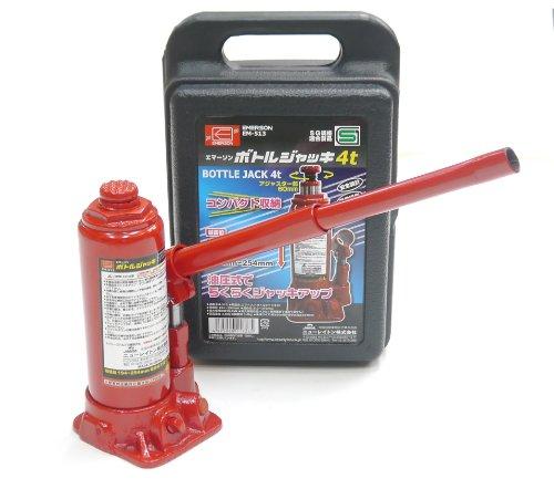 エマーソン 油圧式ボトルジャッキ4t EM-513 SG規格適合品  最低位194-254mm/最高位312-372mm(アジャスター部60mm) ケース付き EMERSON EM513