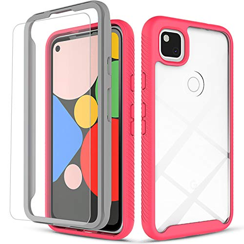 Compatible For - Case, [Not Fit Pixel 4A 5G/Pixel 4] with [Tempered Glass Screen Protector Included], 6 Feet Drop Test Proof Clear Durable Armor Protective Phone Cover-Pink - Circlemalls Google Pixel 4A
