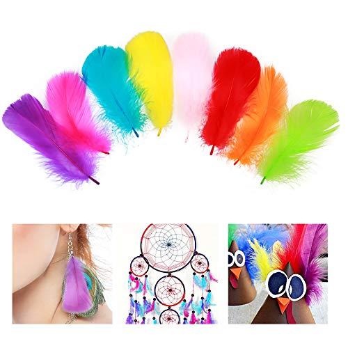 400pcs pluma de color ZoomSky pluma manualidad de plumaje artesanal para DIY, disfraz, atrapasueños, decoracion sombrero, fiesta de boda