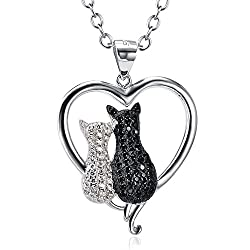 "Black cat necklace 18"" 925 Sterling Silver Jewelry Pendant"