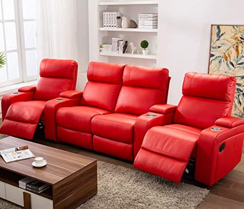 Lifestyle For Home Cinema Sessel 4er Kinosessel Kinosofa Sofa rot Getränkehalter Relaxfunktion