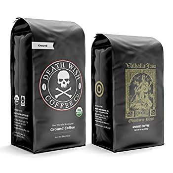 DEATH WISH Coffee - The World's Strongest Coffee [1 lb] and VALHALLA JAVA Odinforce Blend [12 oz] Ground Coffee in a Bundle/Pack/Gift Set | USDA Certified Organic Fair Trade | Arabica and Robusta Beans