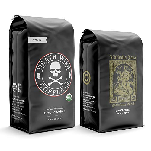 DEATH WISH Coffee - The World's Strongest [1 lb] and VALHALLA JAVA Odinforce Blend [12 oz] Ground Coffee in a Bundle/Pack/Gift Set | USDA Certified Organic, Fair Trade | Arabica and Robusta Beans